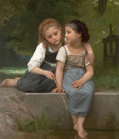 Fishing For Frogs, 1882. Oil on canvas painting by William Adolphe Bouguereau